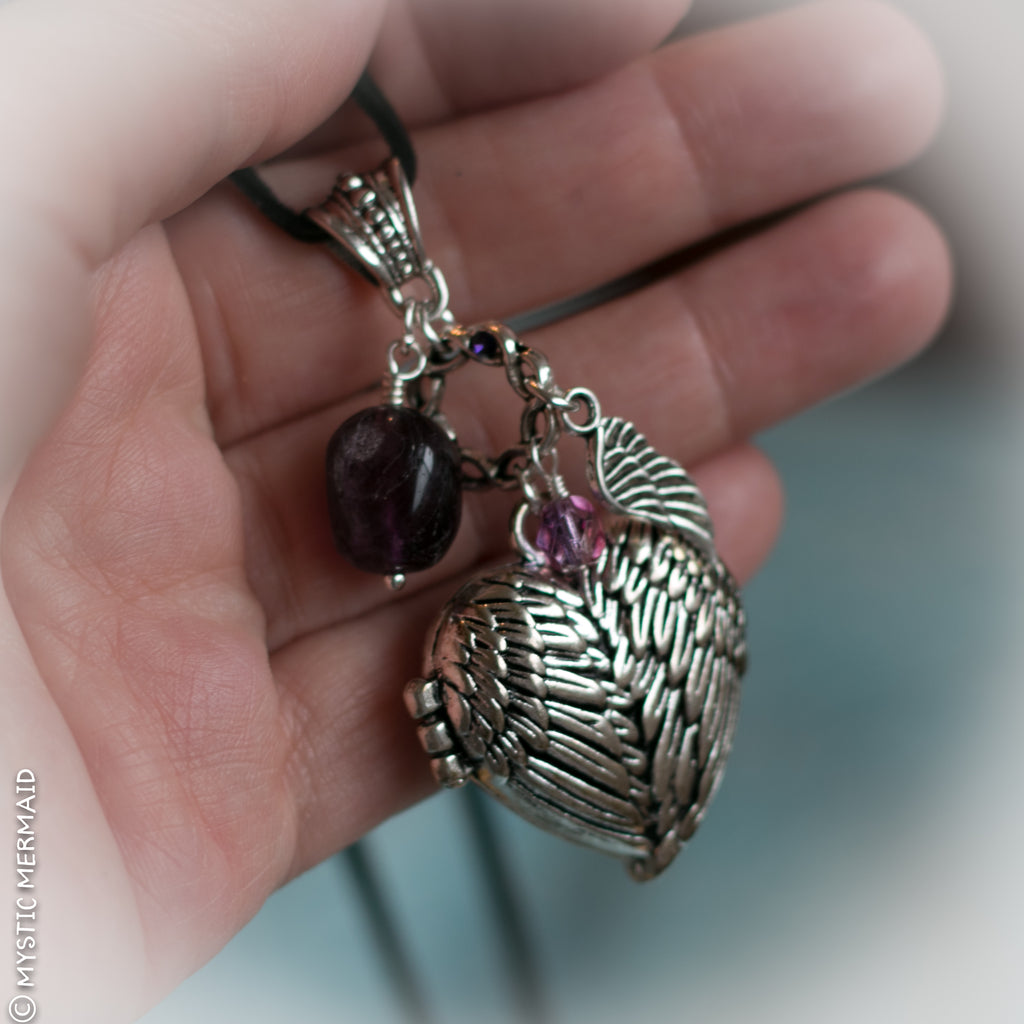 Purple Fluorite Angel Heart Locket Necklace