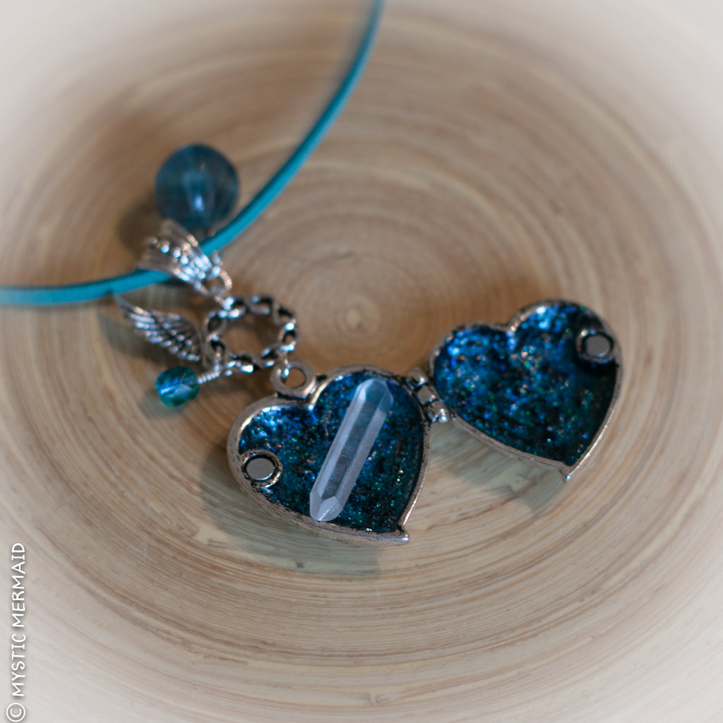 Blue Fluorite Angel Heart Locket Necklace