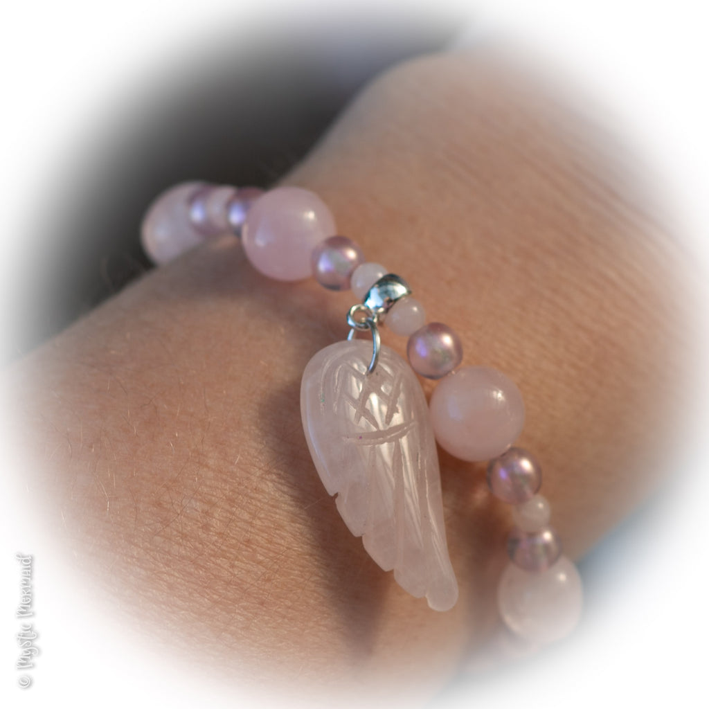 Love from Above Rose Quartz Stretch Angel Wing bracelet