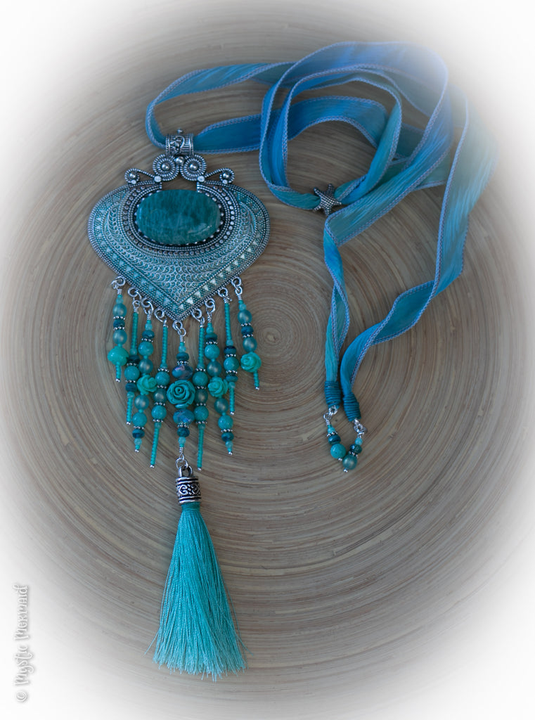 Amazonite Goddess Mermaid Couture Necklace