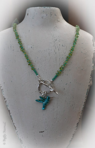 Hummingbird Bliss - High grade peridot and czech crystal necklace