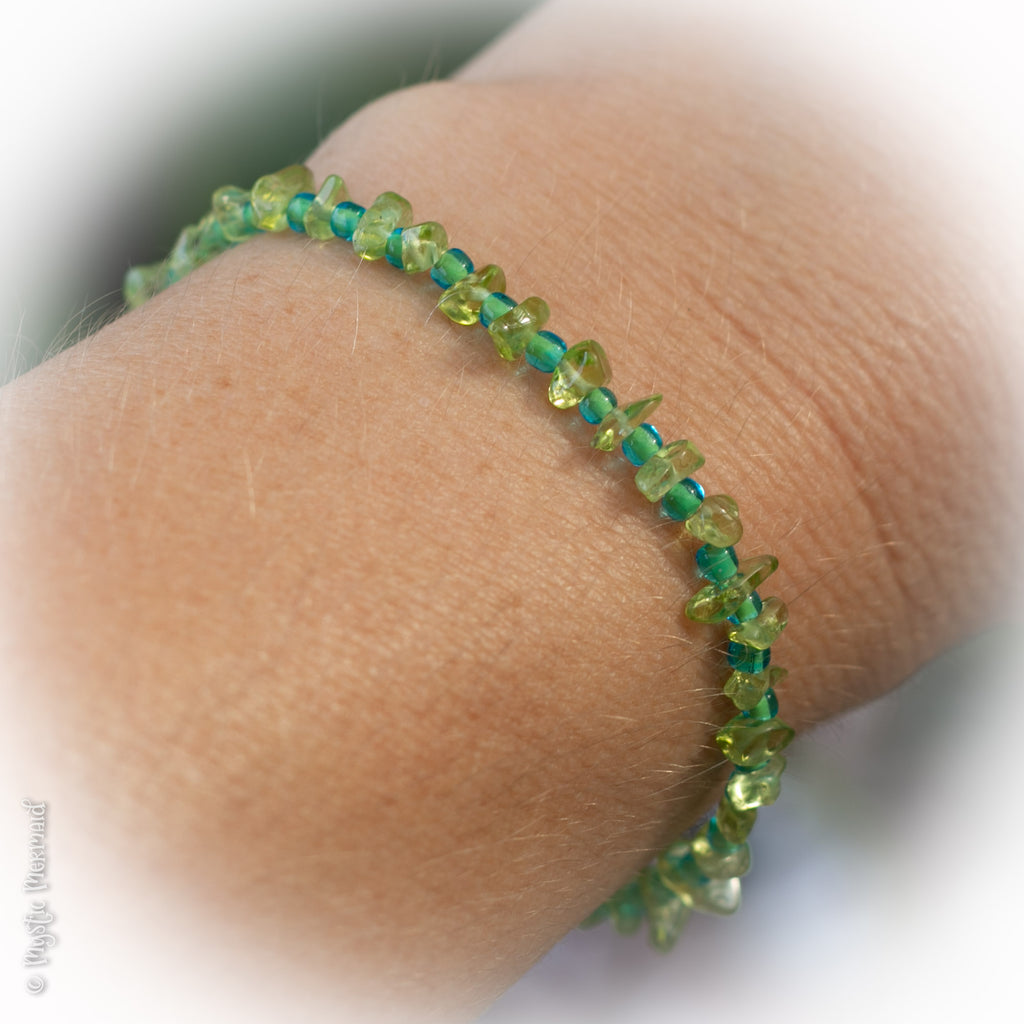 Peridot and Czech Crystal bracelet with Sterling SIlver heart clasp