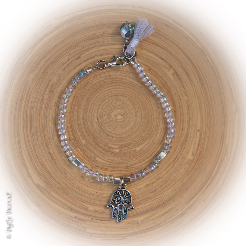 Hamsa Hand Multilink clasp bracelet with Pastel Tassel, Czech Crystal Dangle and 3D Hamsa Hand Charm