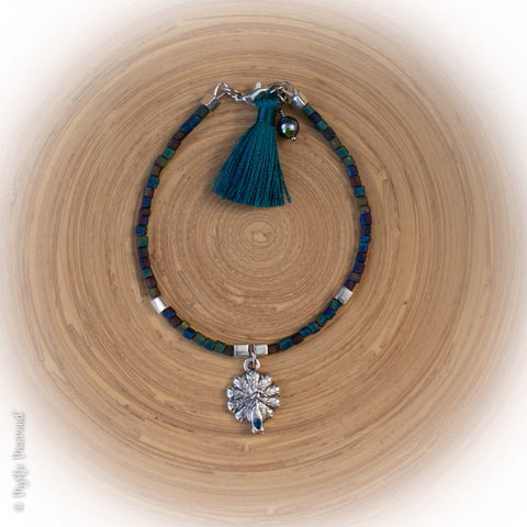 Peacock Love – Frosted Aura Cube beads Multilink clasp bracelet with Silk Tassel, Czech Crystal Dangle and Swarovski set peacock