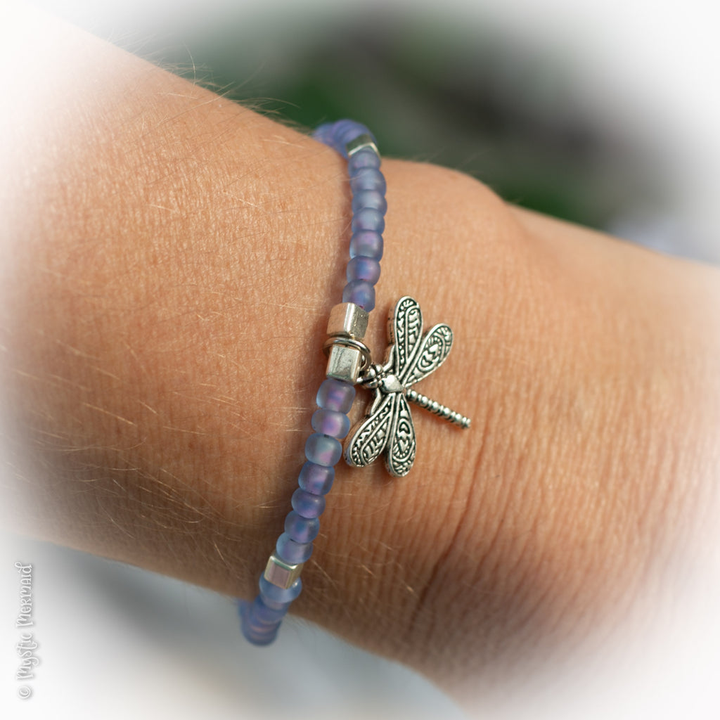 Dragonfly Love - Multilink clasp bracelet with Tassel, Large Illuminated Czech Crystal Dangle and gorgeous double sided silver dragonfly charm