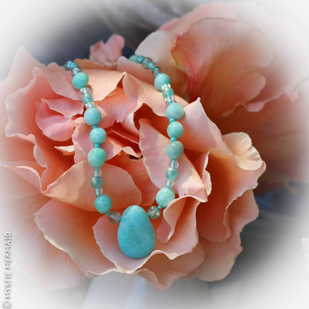 Amazing Amazonite pebble necklace