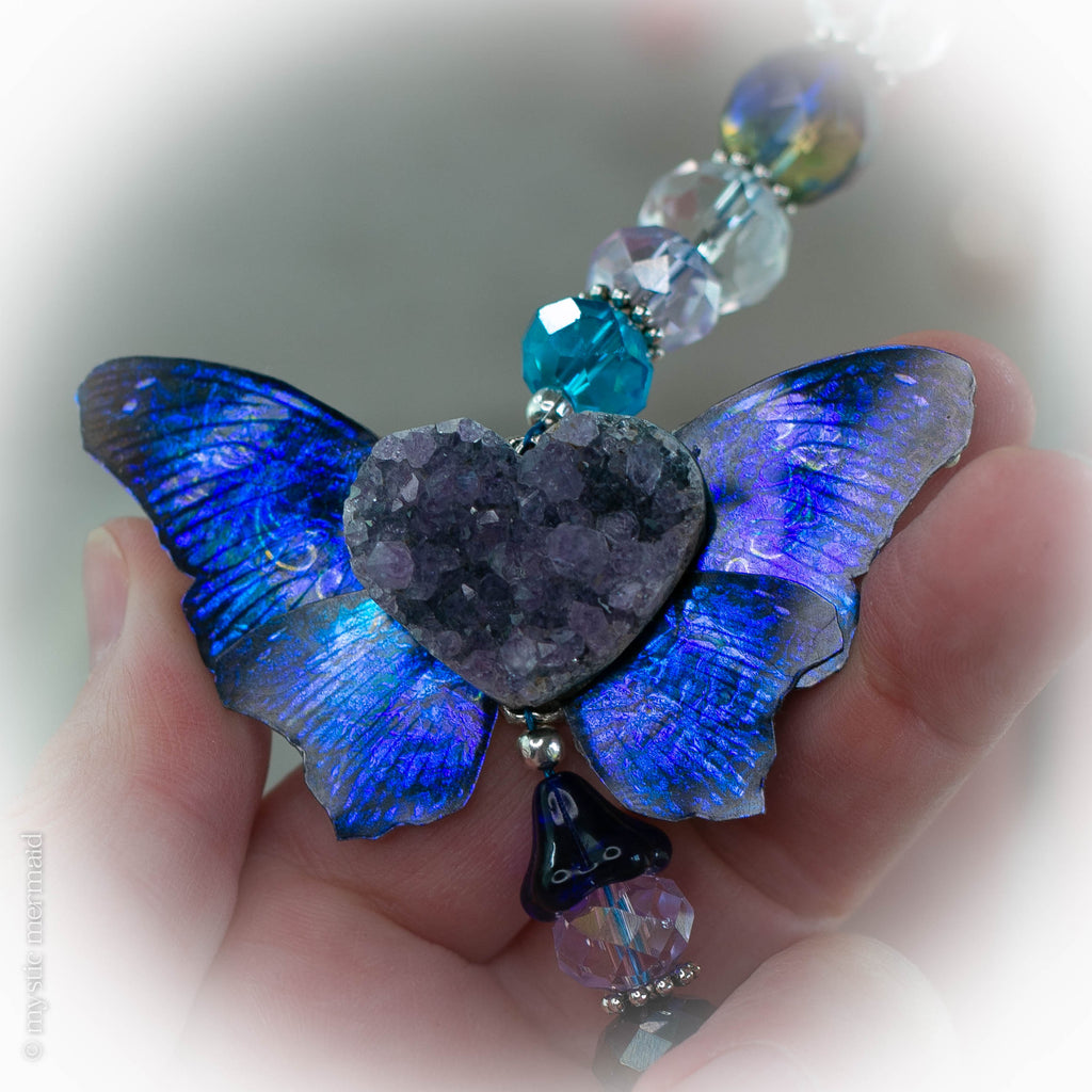 Amethyst Druzy Heart and Spectacular Butterfly Wing SunCatcher
