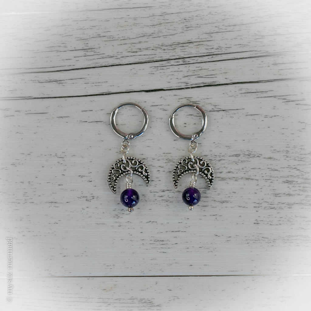 High Grade Amethyst Crescent Moon 925 Sterling Silver Sleeper Leverback Earrings