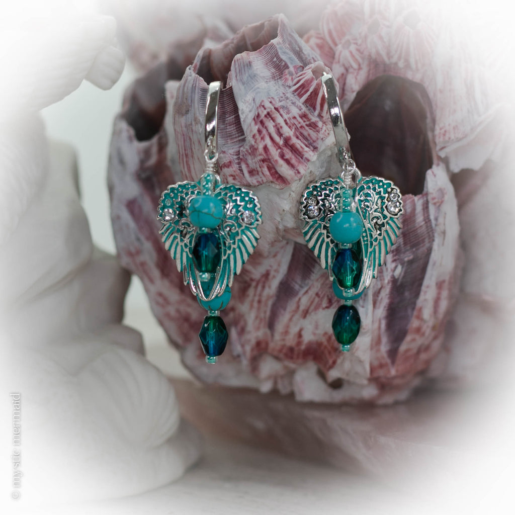Floating Angel - Angelic Dream 925 Sterling Silver Hoop Earrings