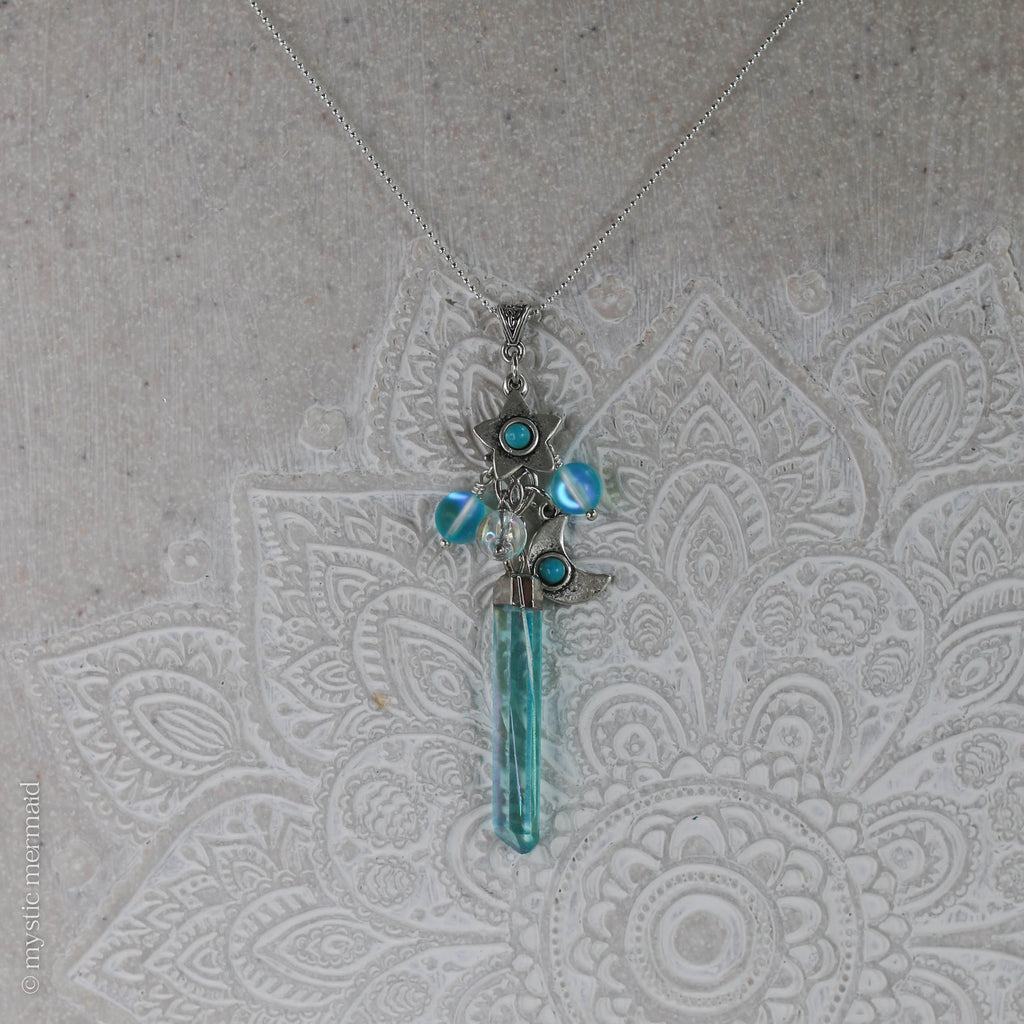 Whispers to the Stars Aqua Aura Sterling Silver Necklace