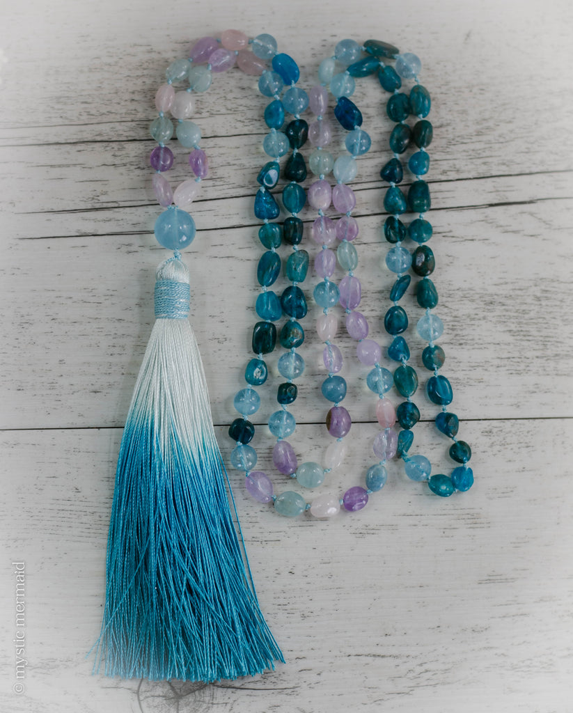 Aquamarine, Morganite, Blue Apatite and Amethyst 108 Bead Pure Silk Mala