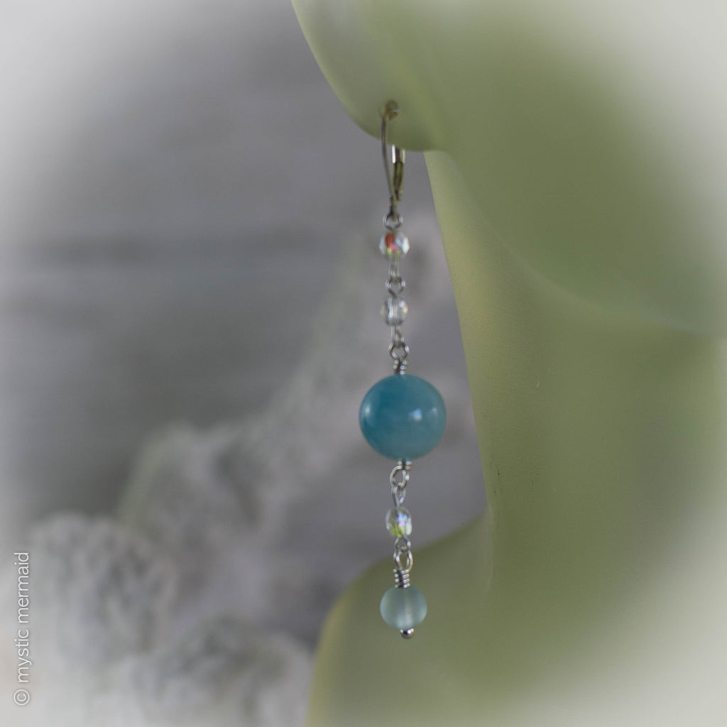 Aquamarine Dreaming 925 Sterling Silver Leverback Earrings