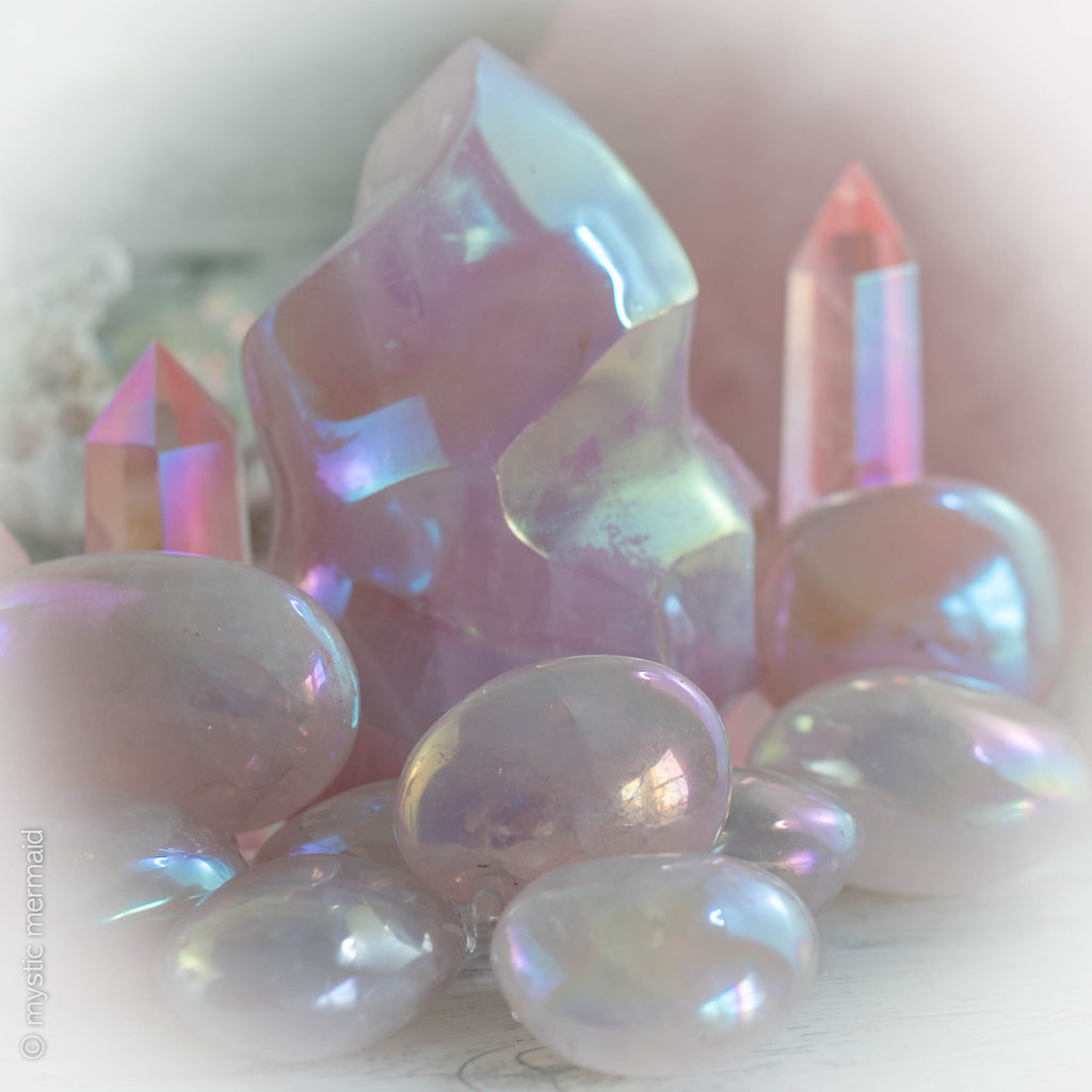Angel Aura Rose Quartz Palmstones