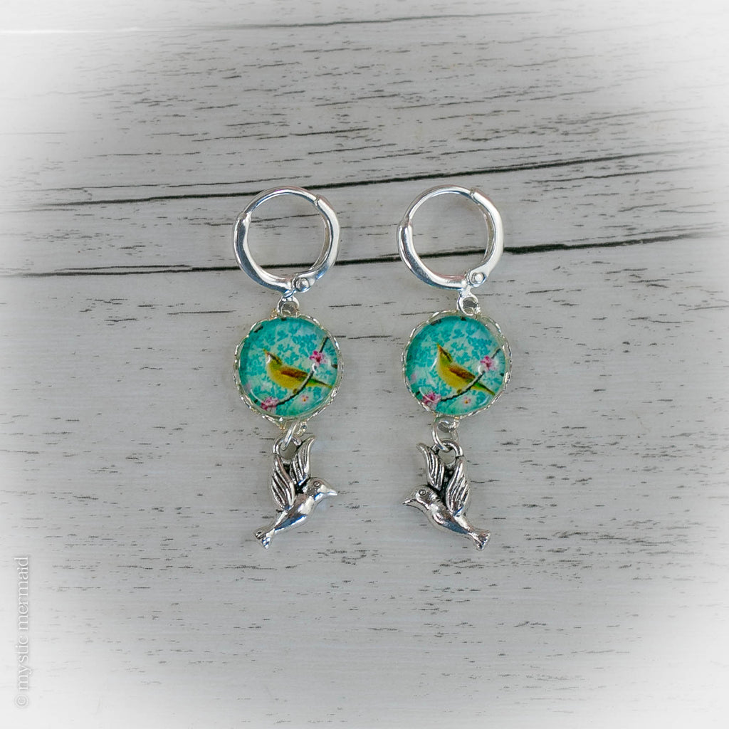 Chirp Chirp Birds of Peace 925 Sterling Silver Leverback Earrings