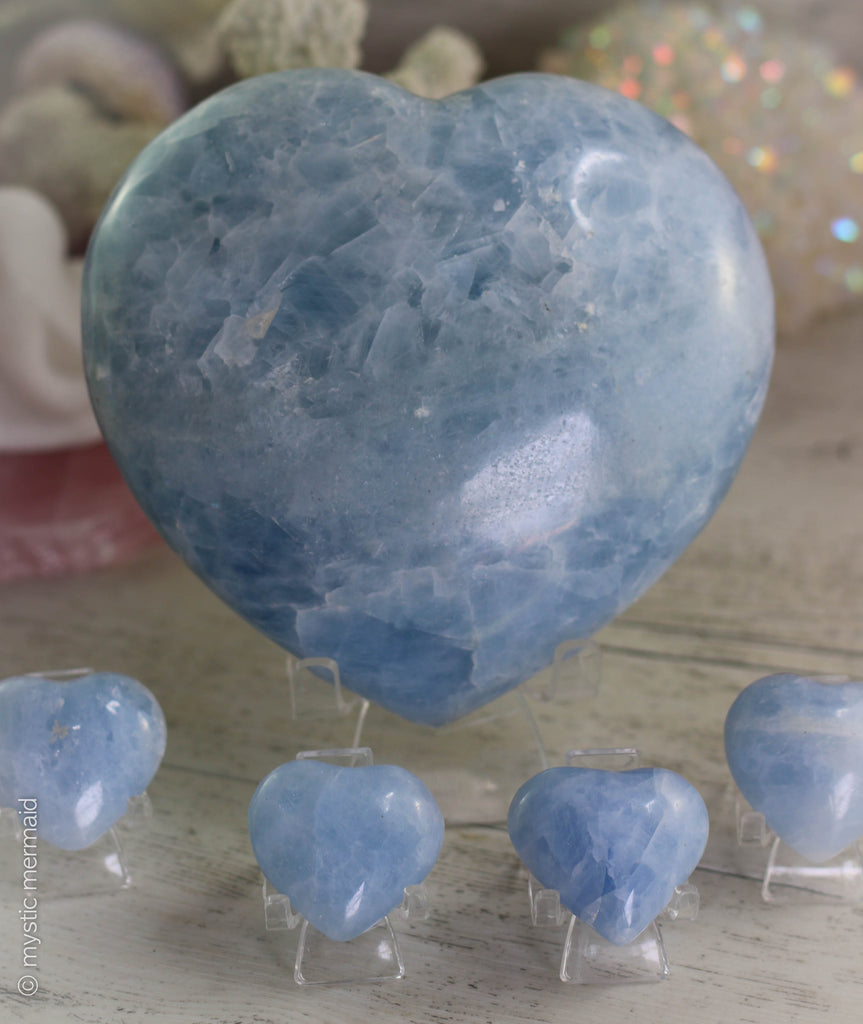 XXL Blue Calcite Puffy Heart