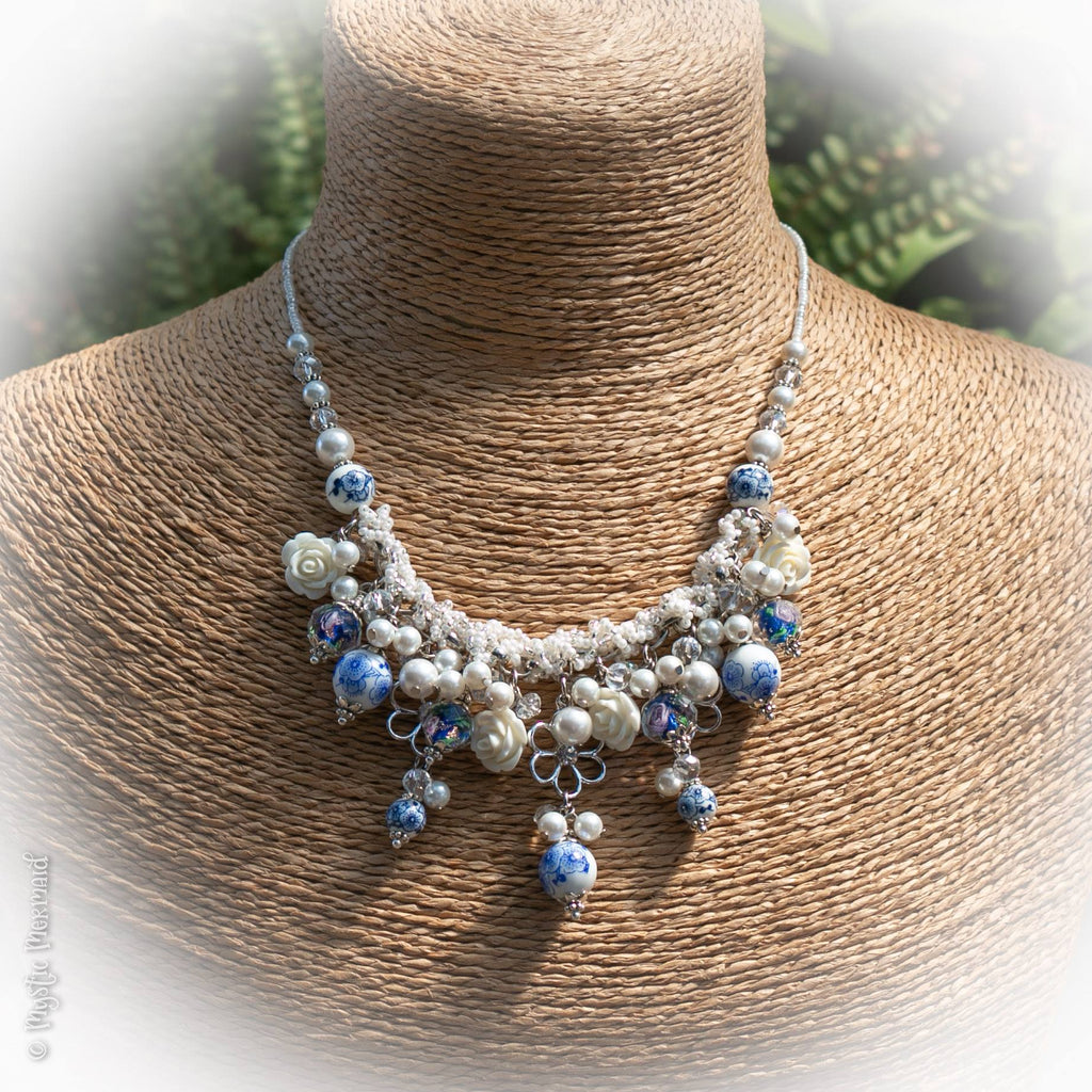 Blue Danube – Porcelain, Czech Crystal and South Sea Pearl Necklace