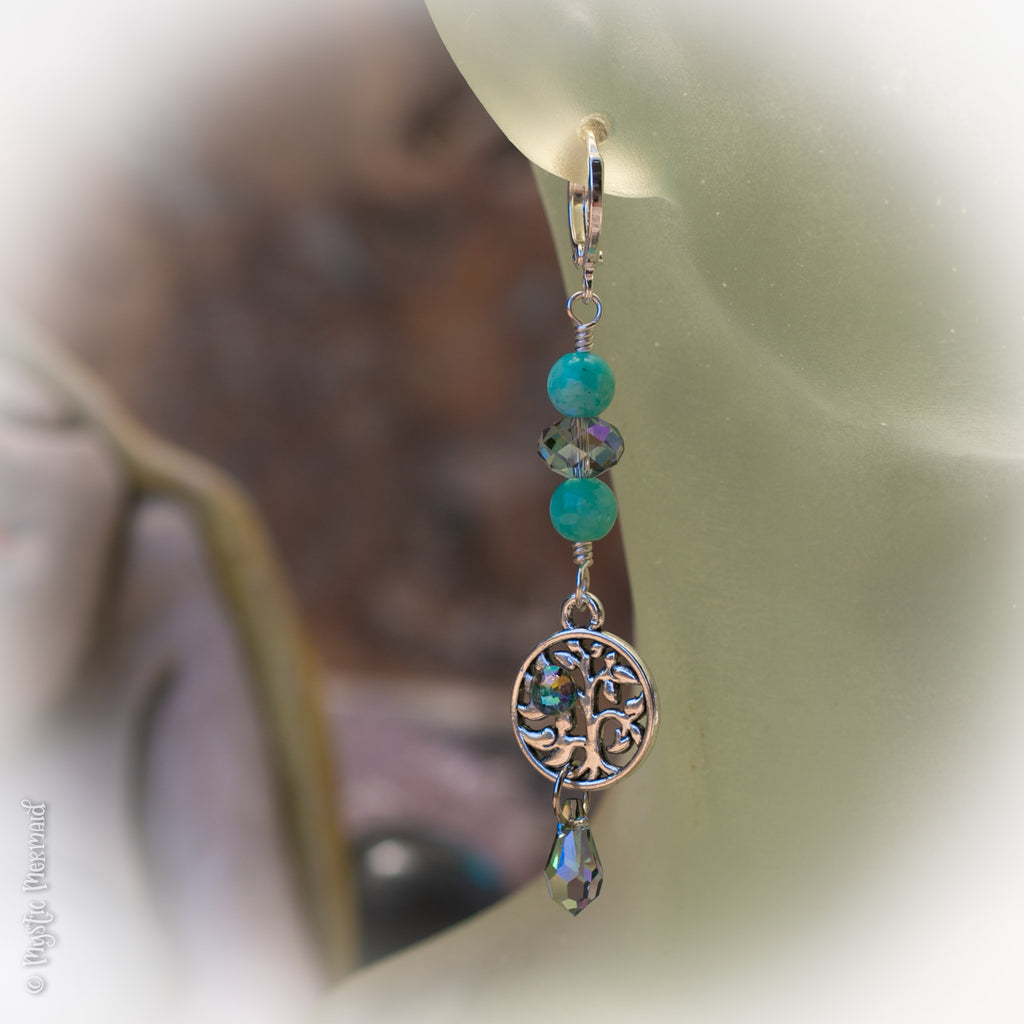Tree of Life Amazonite and Swarovski Crystal Paradise Drop 925 Sterling Silver Sleeper Leverback Earrings