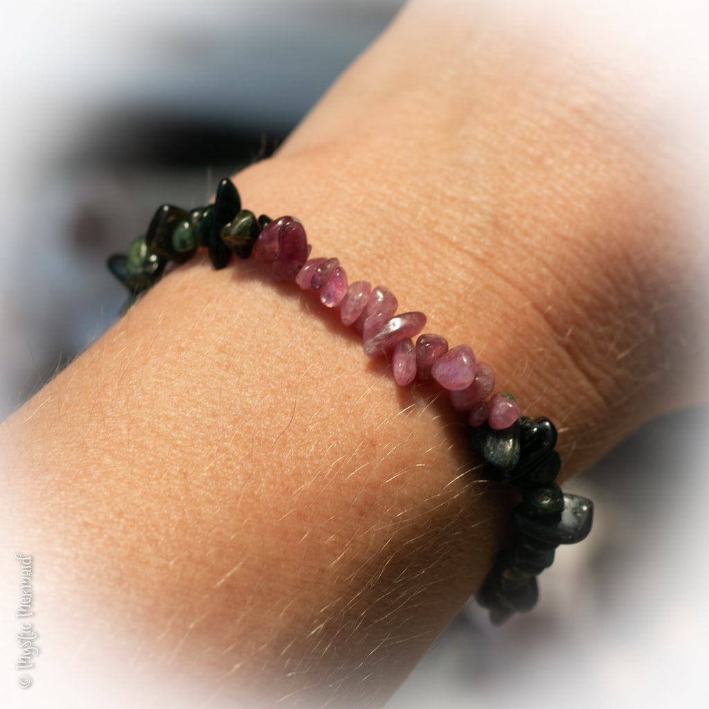 Pink and Green Tourmaline Bracelet with Small Heart Clasp