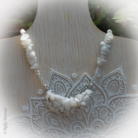 Rainbow Moonstone Crescent Moon Pendant Feature Necklace with Angel Aura and Clear Quartz