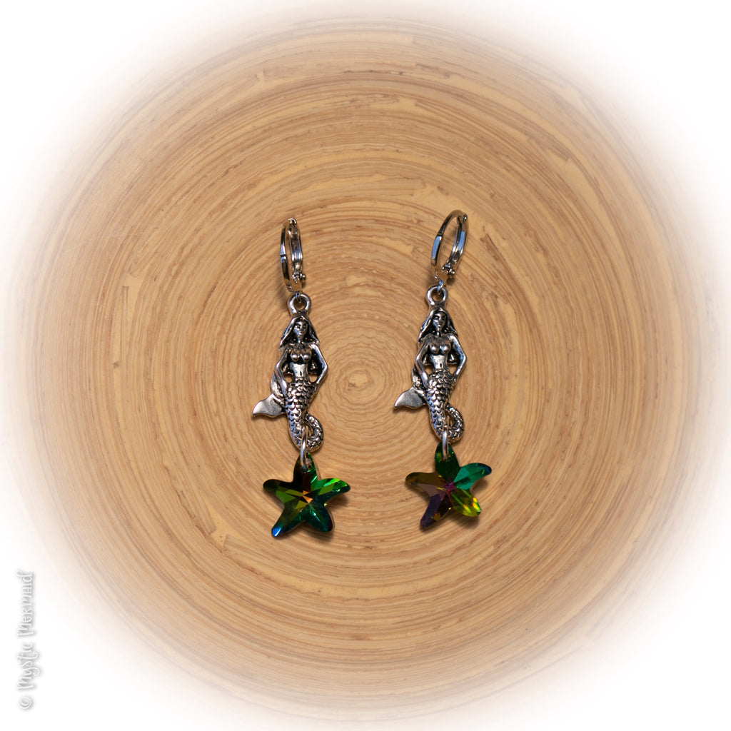 Mystic Aura Swarovski Starfish and Mermaid 925 Sterling Silver Sleeper Leverback Earrings