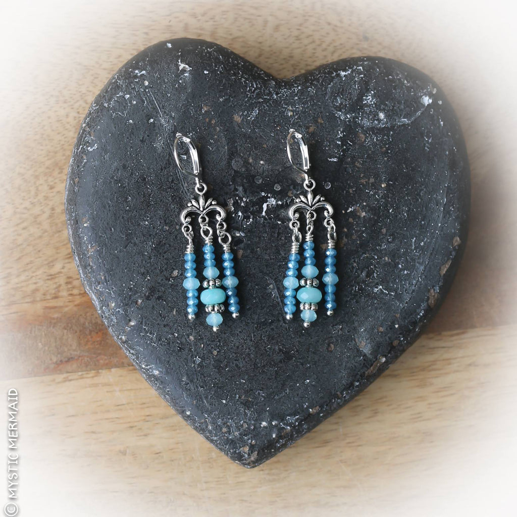 Swing from the Chandeliers - Blue Chalcedony 925 Sterling Silver Earrings