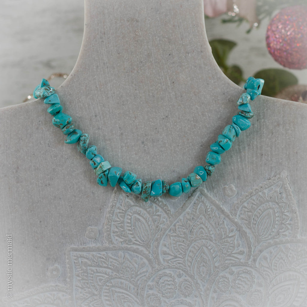Chunky Turquoise and Czech Crystal Necklace