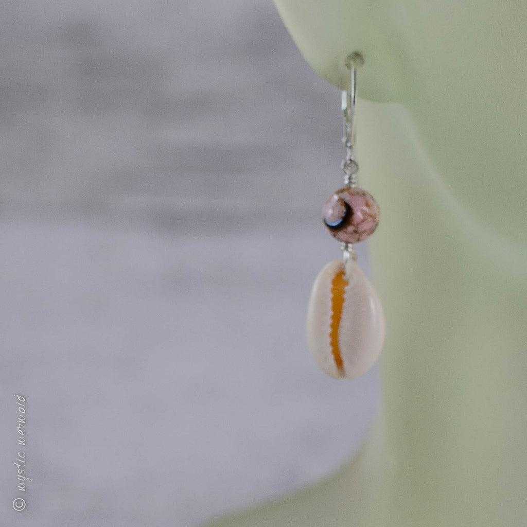 Magickal Pink 'turquoise' and Cowrie Shell Earrings