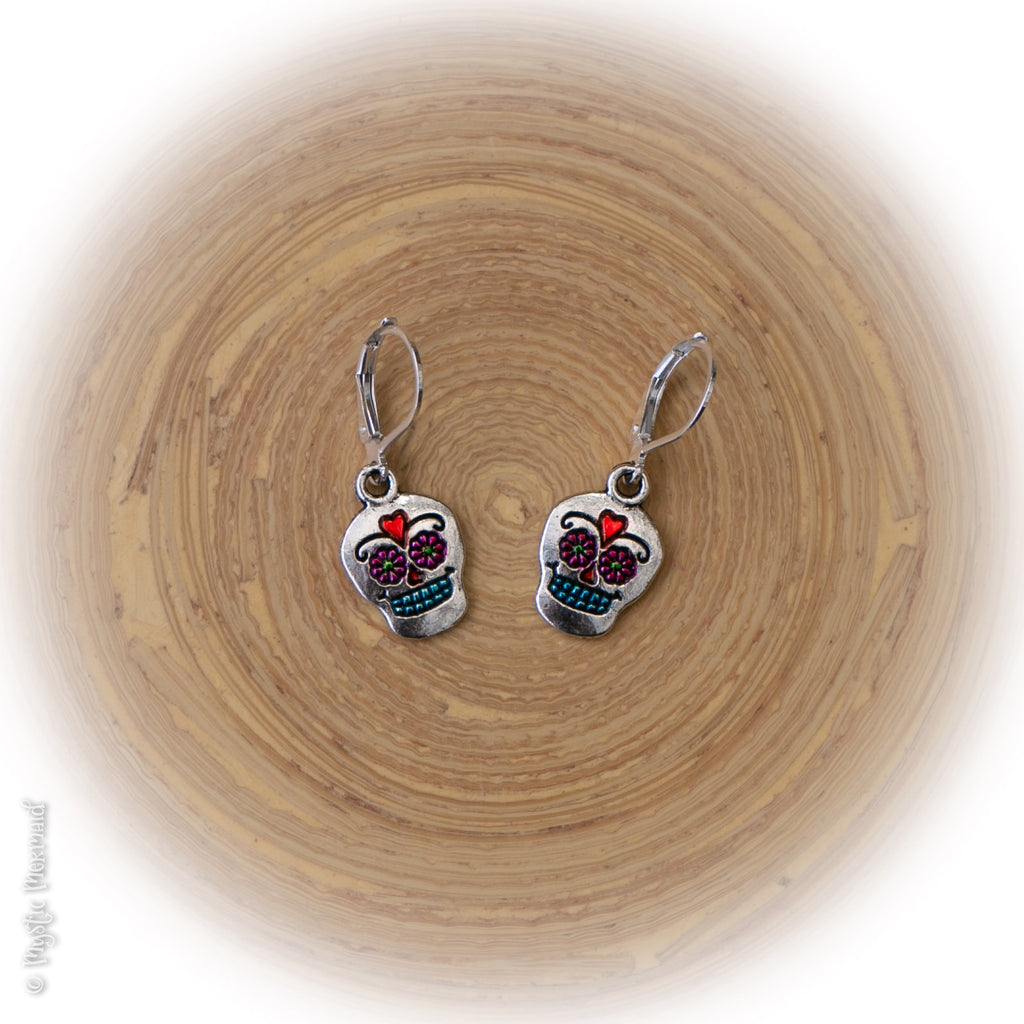 Día de Muertos (Day of the Dead) 925 Sterling Silver Leverback Earrings