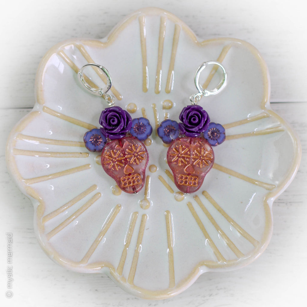 Day of The Dead Dia de Muertos Sugar Skull Earrings
