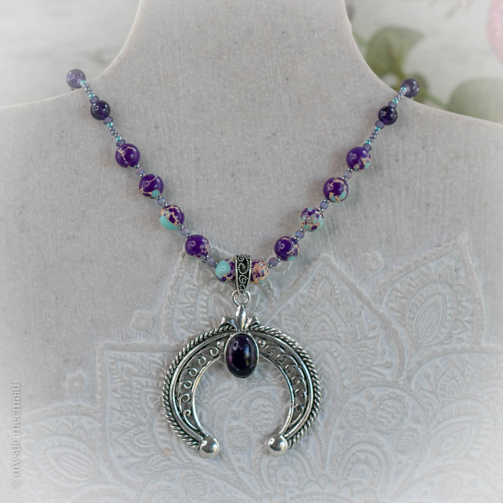 High Grade Amethyst Crescent Horn Necklace