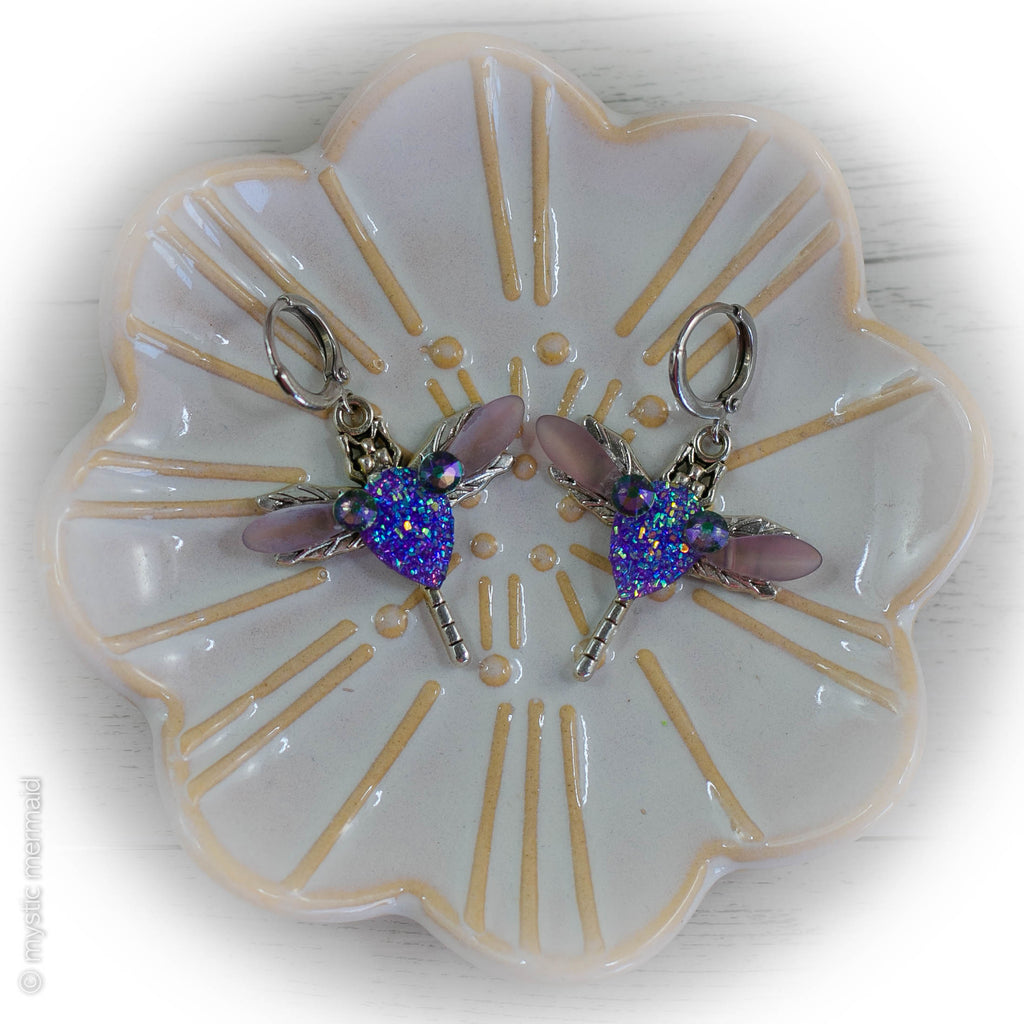 Sparkle Faux Druzy Dragonfly 925 Sterling Silver Sleeper Leverback Earrings