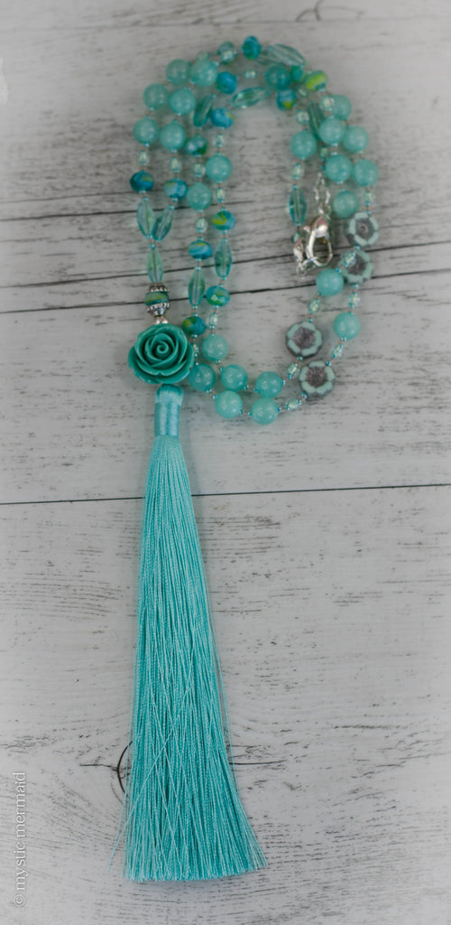 Bohemian Flower Czech Crystal Silk Tassel Necklace