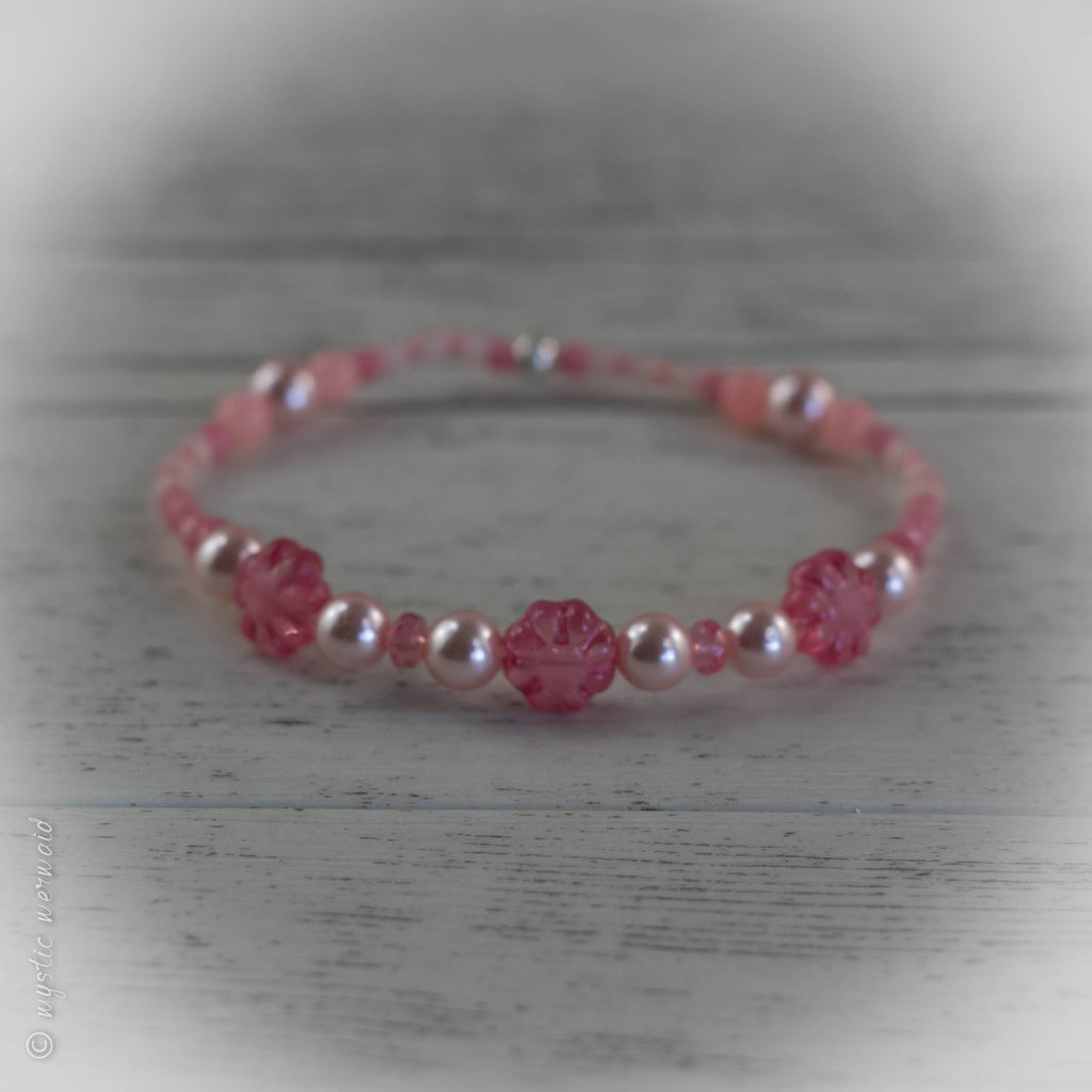 Pretty in Pink Hibiscus Stretch Sweetie Bracelet