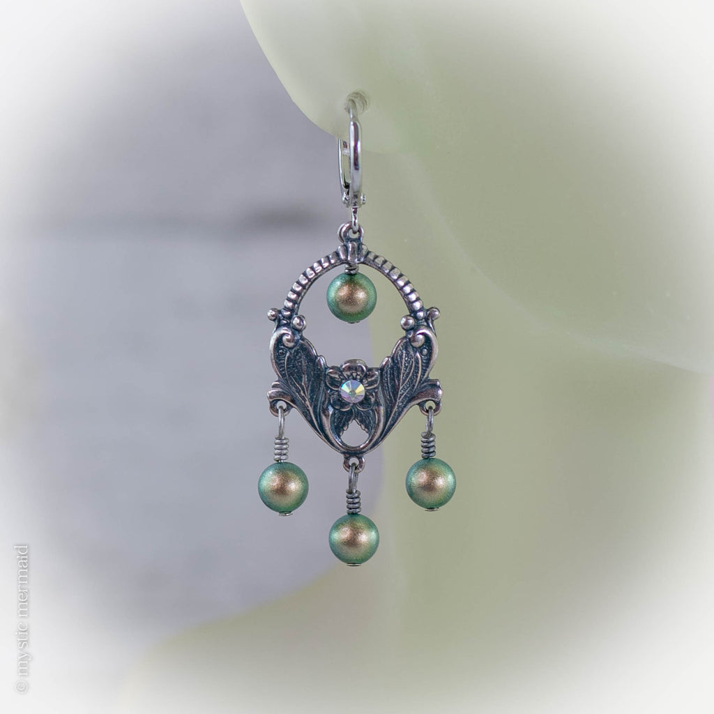 Antique Silver and Swarovski Pearl and Crystal 925 Sterling Silver Sleeper Leverback Earrings