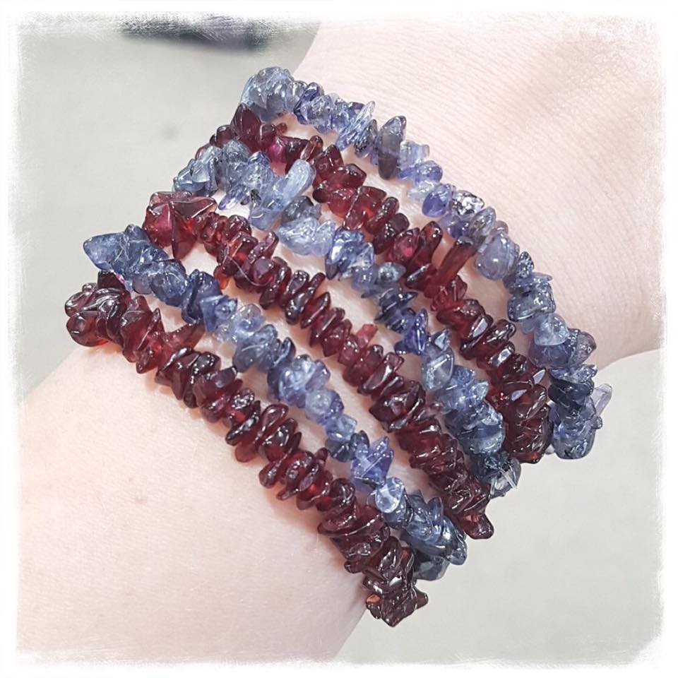 Guidance Bracelet Duo - Garnet and Iolite Stretch Bracelets