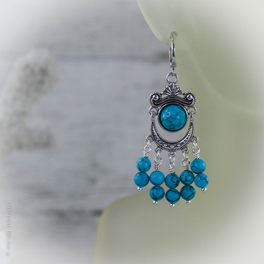 Blue Howlite Gypsy Earrings on 925 Sterling Silver Sleeper Leverback Earrings