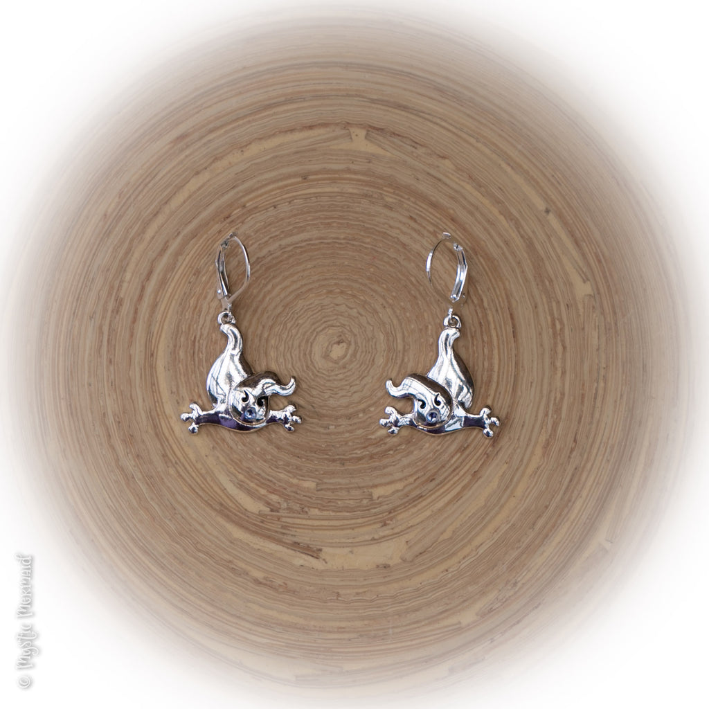 I scare you this much! Ghostly 925 Sterling Silver Leverback Earrings