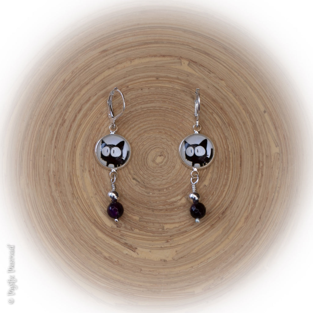 Scaredy Cat Amethyst and Sterling Silver Leverback Earrings