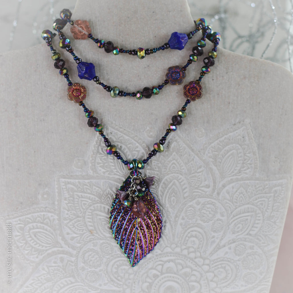 Glistening Rainbow Aura Leaf Beaded Necklace