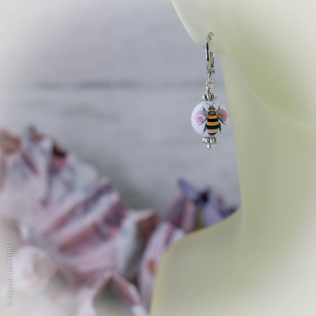 Restocked! Honey Bee Hand Painted Porcelain 925 Sterling Silver Leverback Earrings