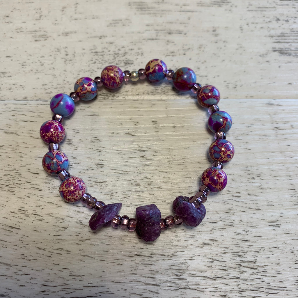 Ruby and Sea Sediment Jasper stretch bracelet