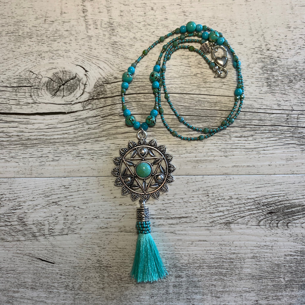 Heart Chakra Mandala Turquoise Howlite and Shell Bead Necklace