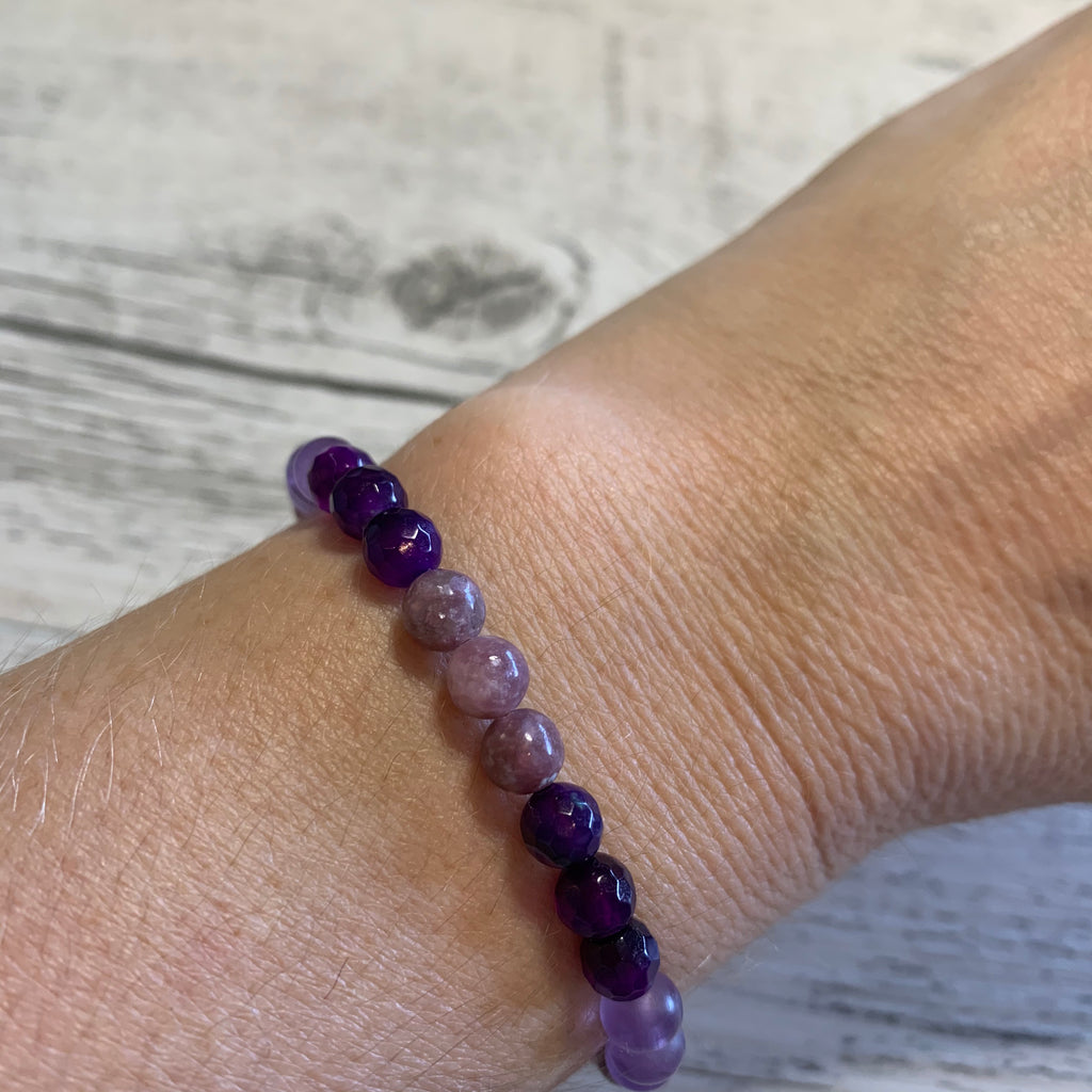 Instant Calm Lepidolite, Purple Agate, Frosted Amethyst stretch bracelet