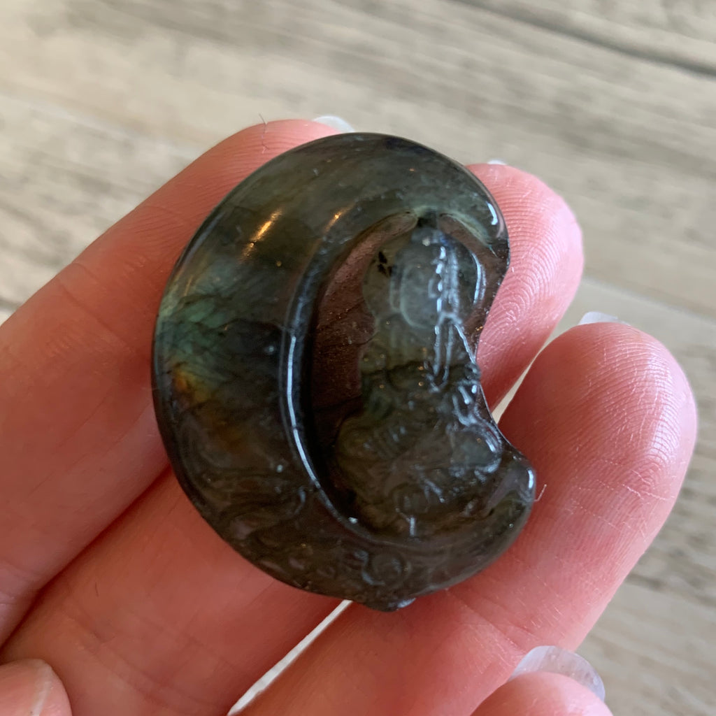 Spectrolite / Labradorite Quan Yin in the Moon Carvings