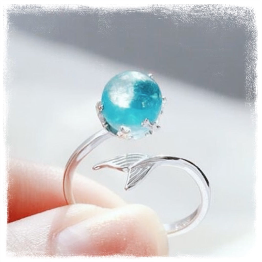 Mermaid Glow 925 Sterling Silver Adjustable Ring