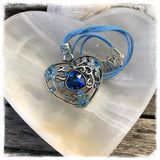Heart Sparkles Blue Necklace