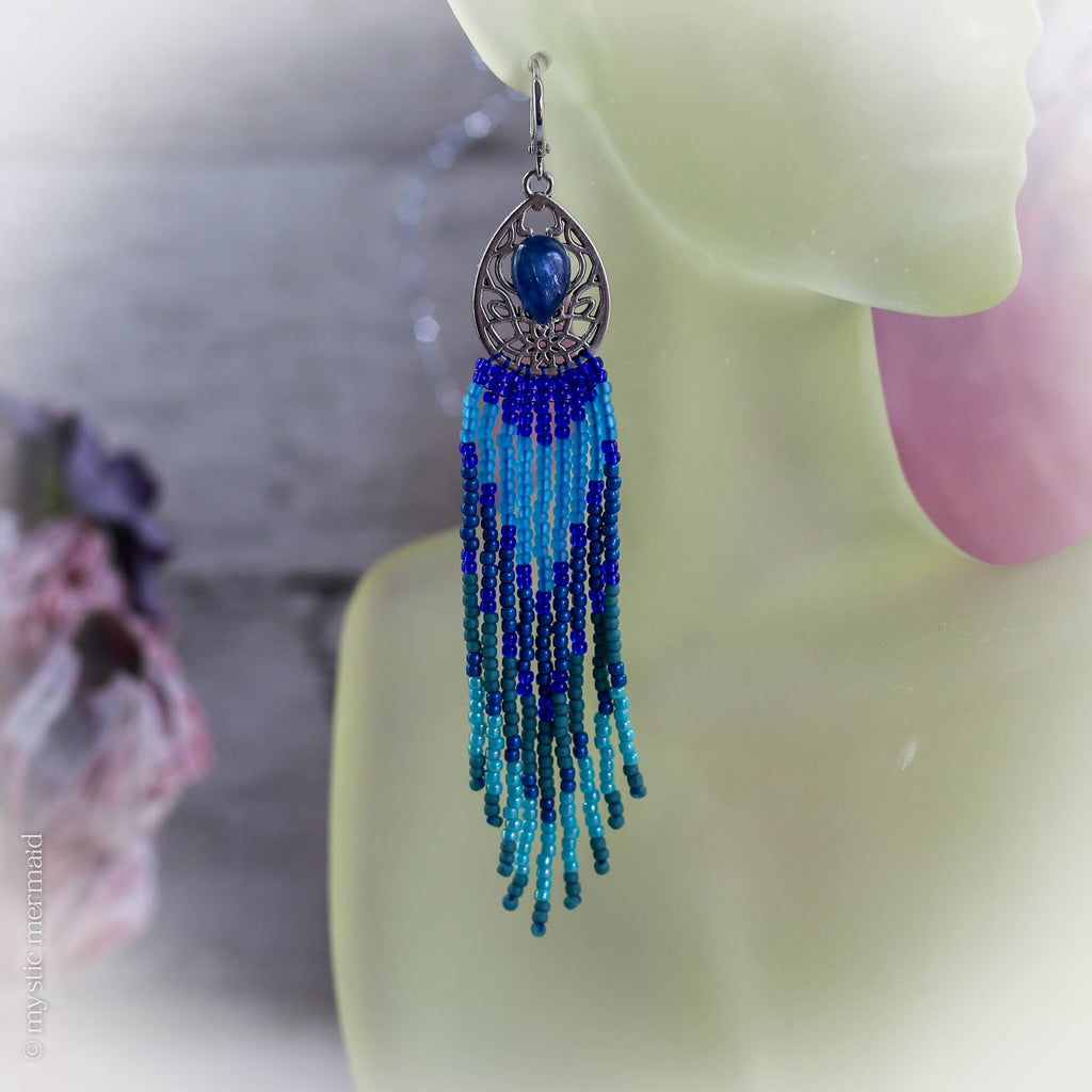 Kamichi Blue Kyanite and Hand Sewn Crystal 925 Sterling Silver Sleeper Leverback Earrings