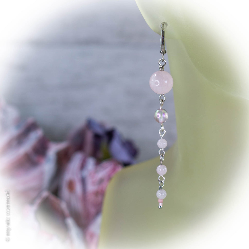 Love Drops Rose Quartz 925 Sterling Silver Sleeper Leverback Earrings