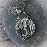 Mermaid in her garden Magnifying Glass Necklace