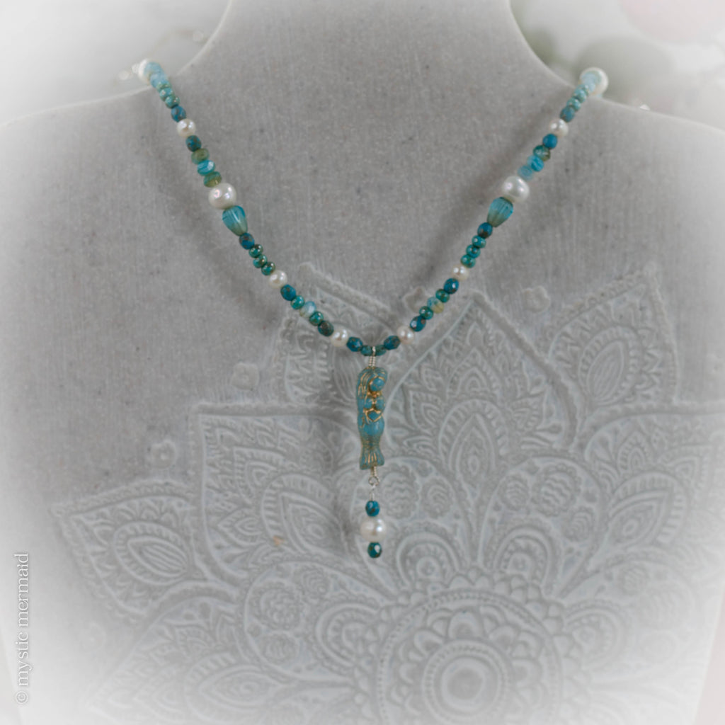 Czech Crystal Mermaid and Pearl Necklace in Sage
